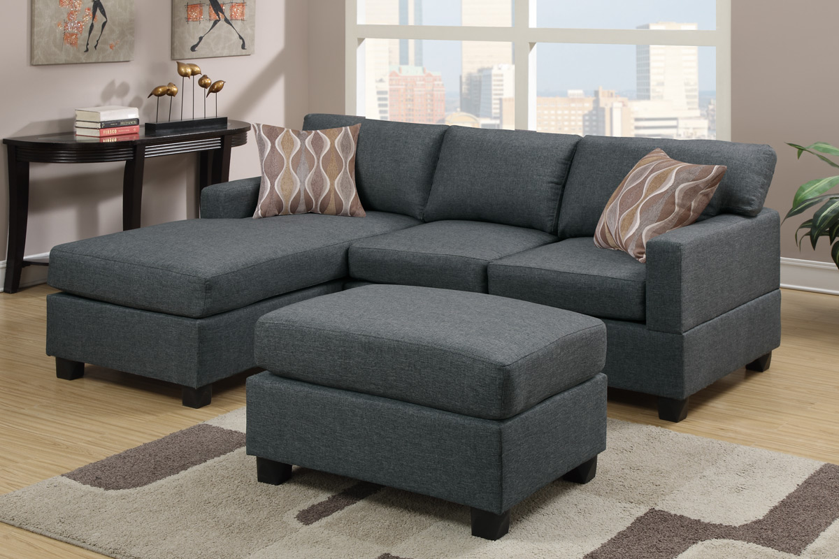 Fabric Sectional Sofas Canada Akeneo Grey Fabric Sectional Sofa And Ottoman