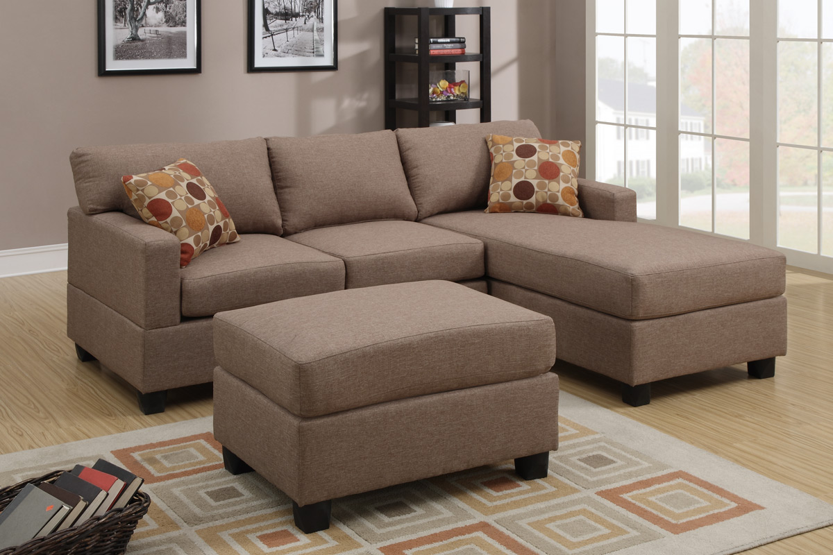 Sofa Outlet Cheshire Akeneo Beige Fabric Sectional Sofa And Ottoman