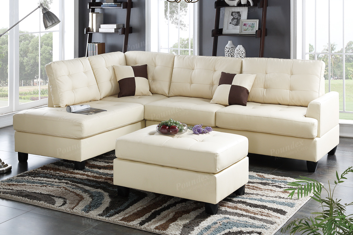 Sofa Beige Ancel Beige Leather Sectional Sofa And Ottoman