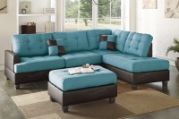 Blue Leather Sectional Sofa and Ottoman - Steal-A-Sofa ...
