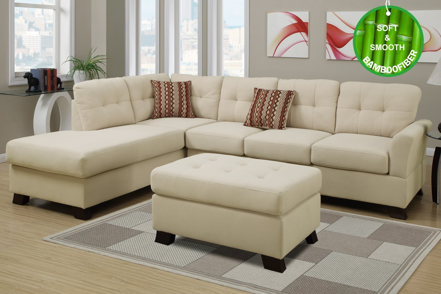 Sofa Beige Beige Fabric Sectional Sofa And Ottoman