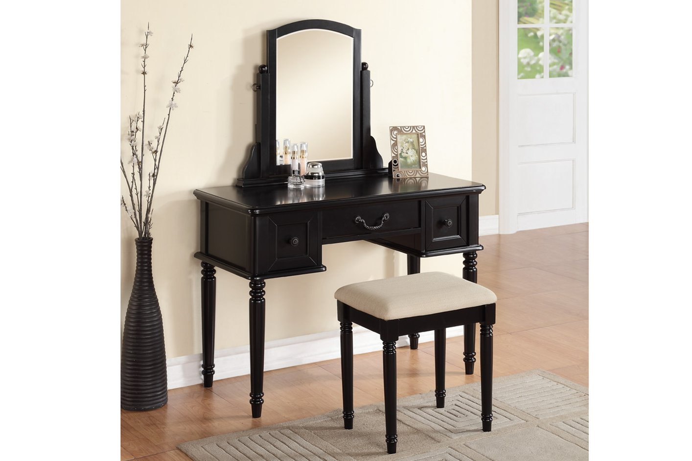 Vanity And Stool Sets Black Wood Vanity Set With Stool Steal A Sofa Furniture