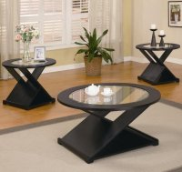 Black Wood Coffee Table Set - Steal-A-Sofa Furniture ...