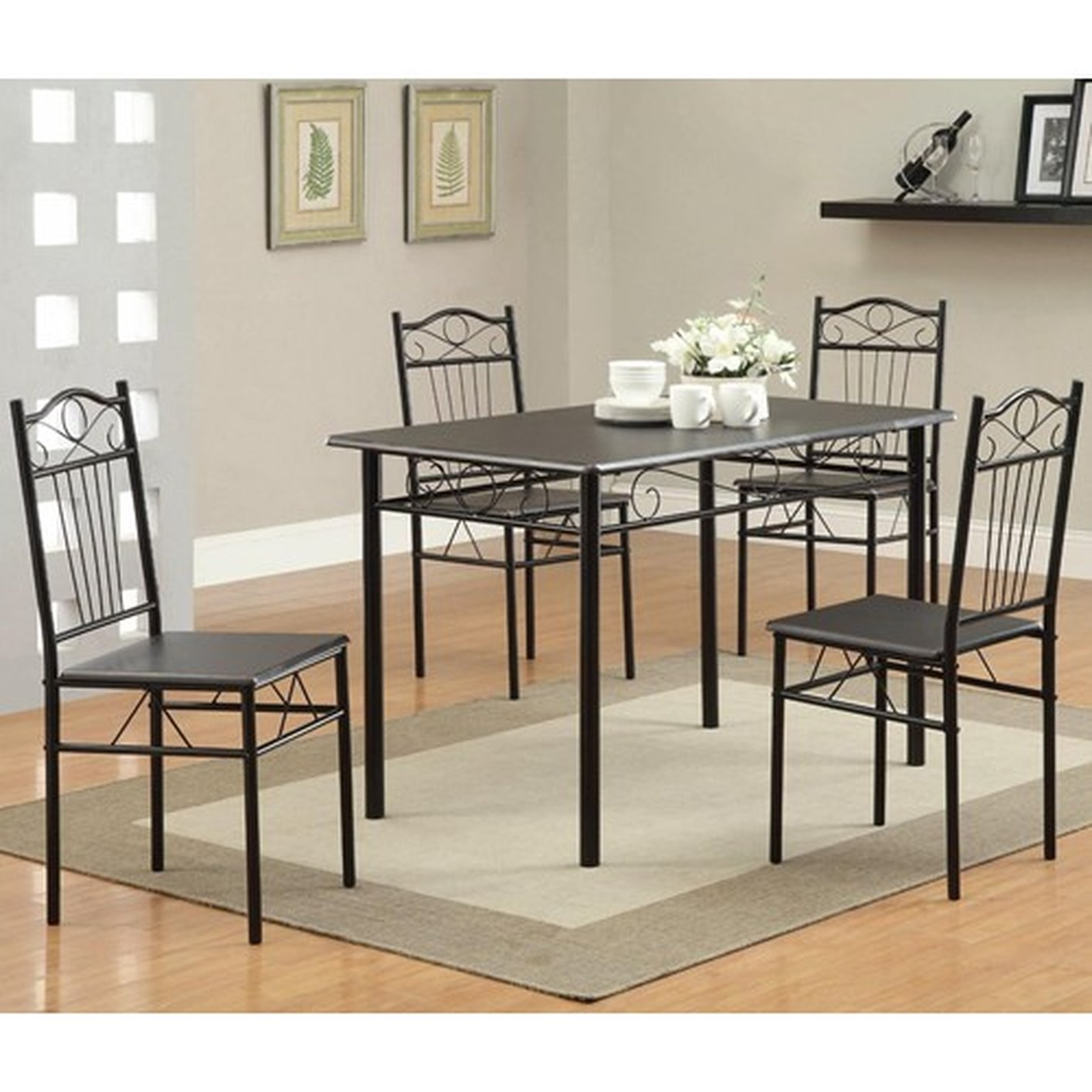 Black Dining Table And Chairs Black Metal Dining Table And Chair Set Steal A Sofa