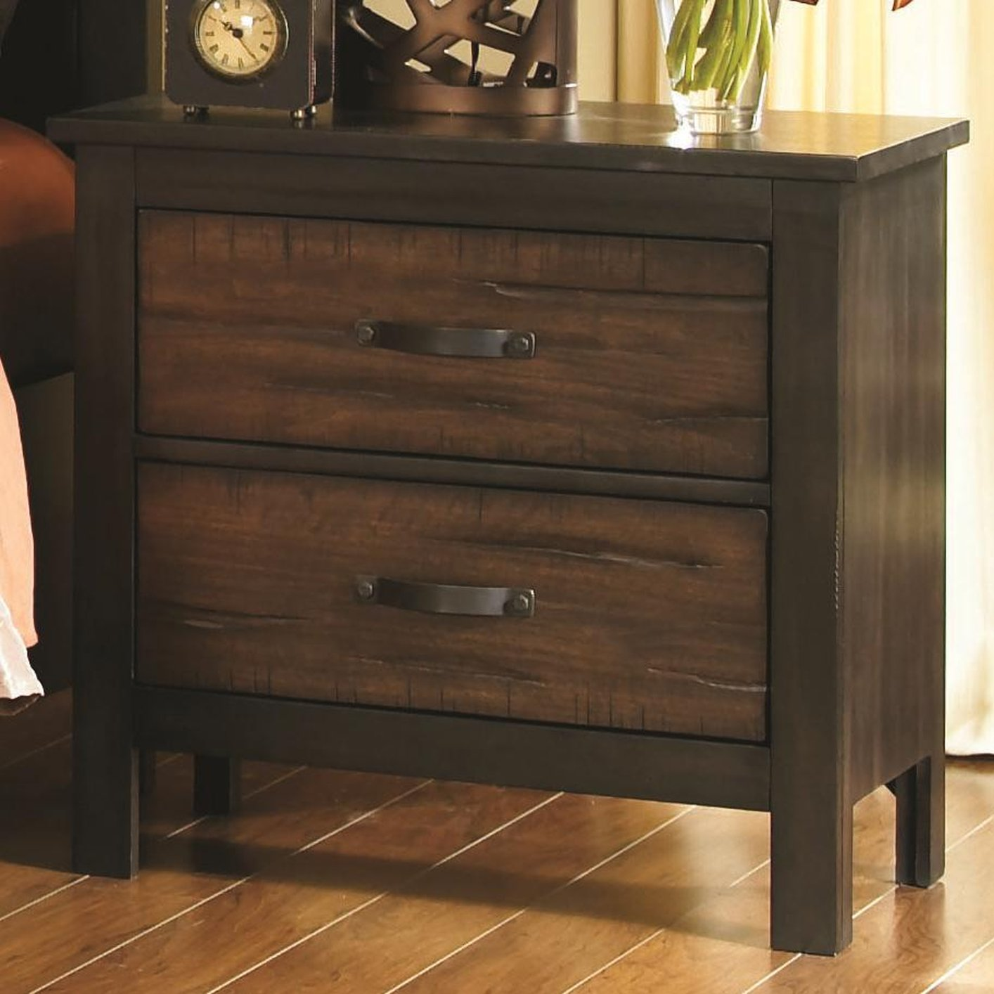 Small Bedside Table Clocks Brown Wood Nightstand Steal A Sofa Furniture Outlet Los
