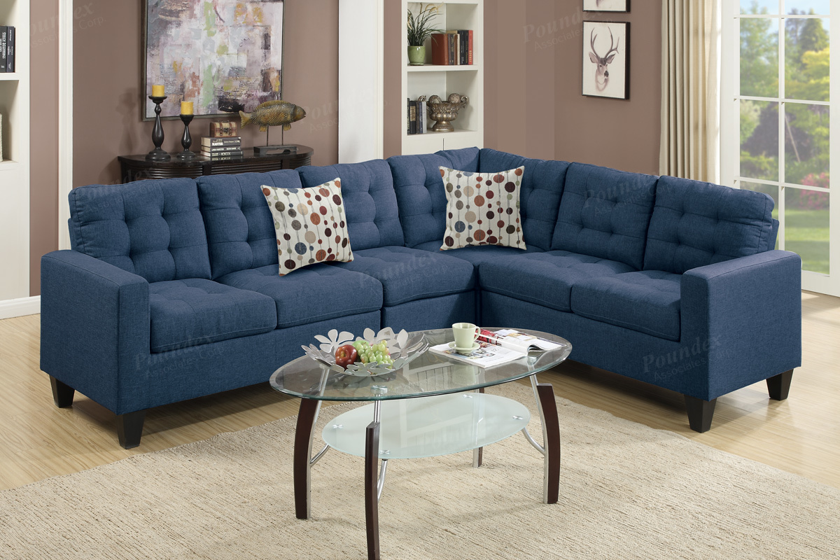 Blue Sectional Peta Blue Fabric Sectional Sofa