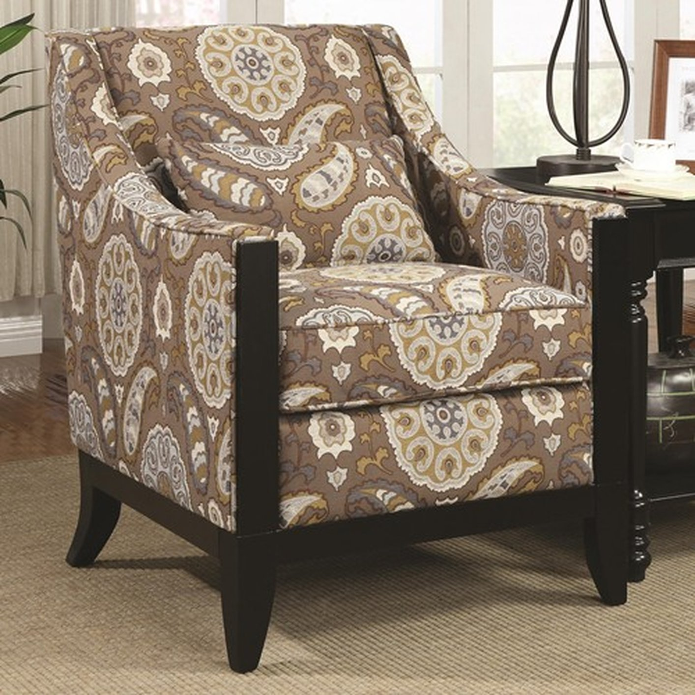 Sofa Outlet Paisley Beige Fabric Accent Chair