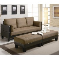 Brown Fabric Sofa Bed and Ottoman Set - Steal-A-Sofa ...