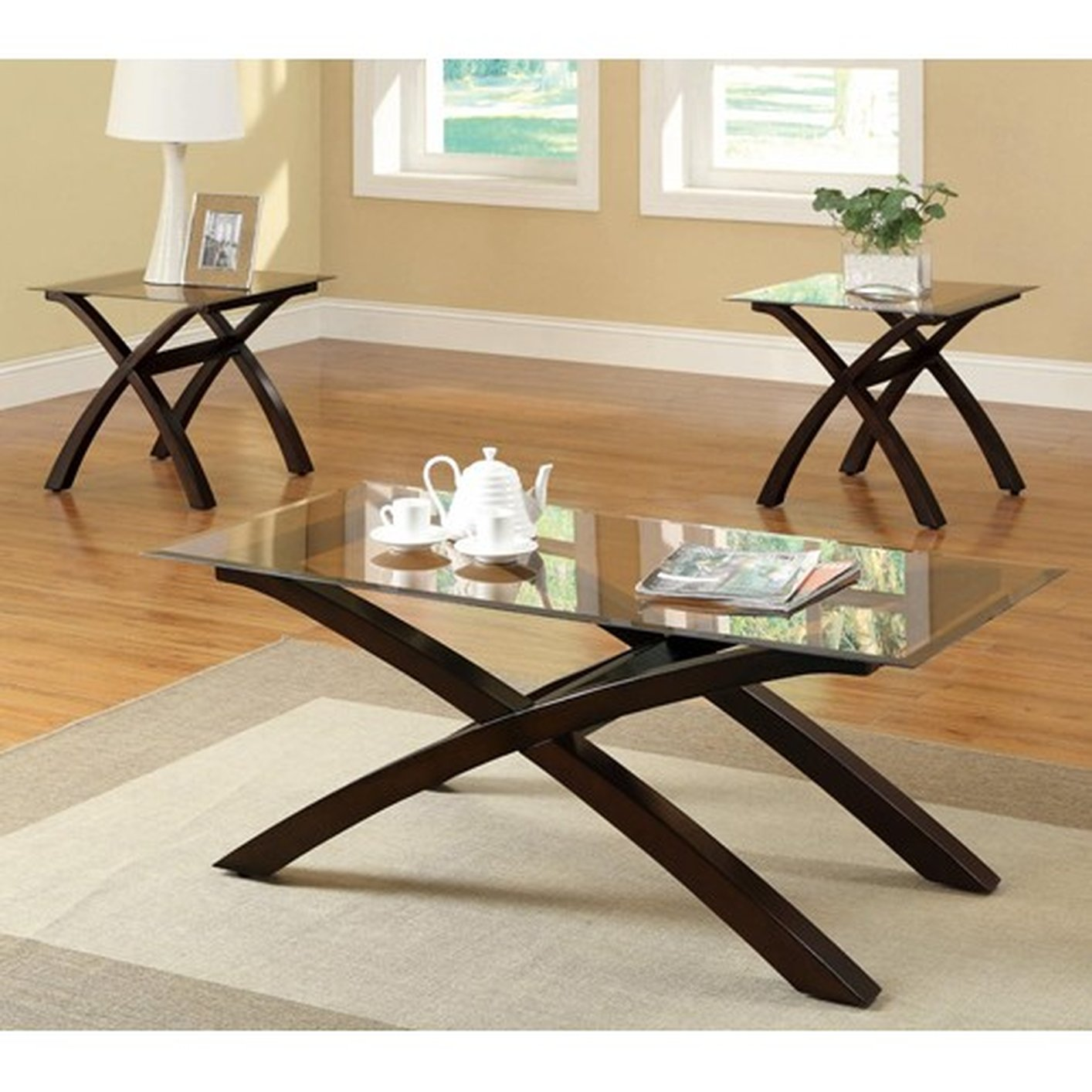 Coaster 701610 Brown Glass Coffee Table Set Steal A Sofa
