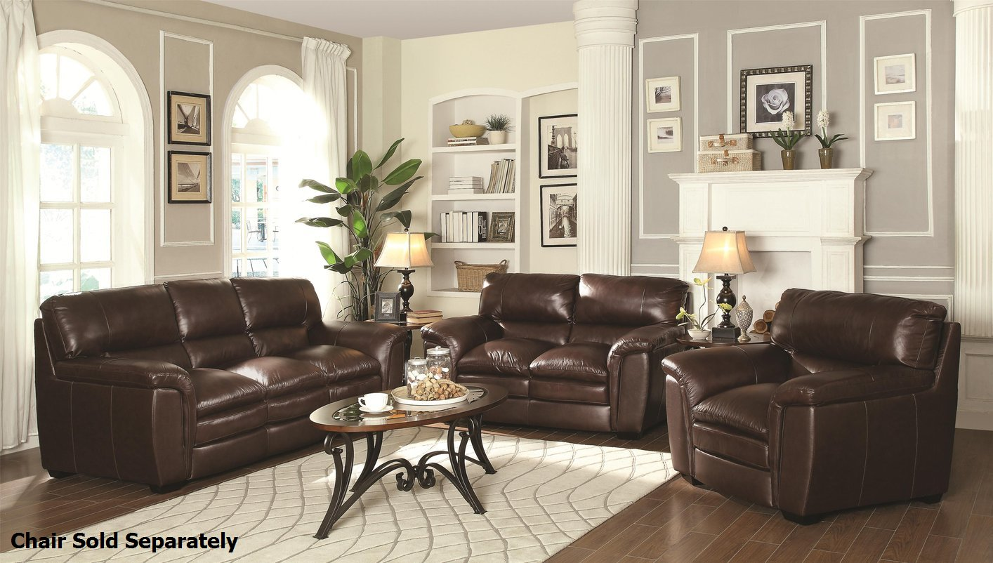 Brown Sofa And Loveseat Sets Burton Brown Leather Sofa And Loveseat Set