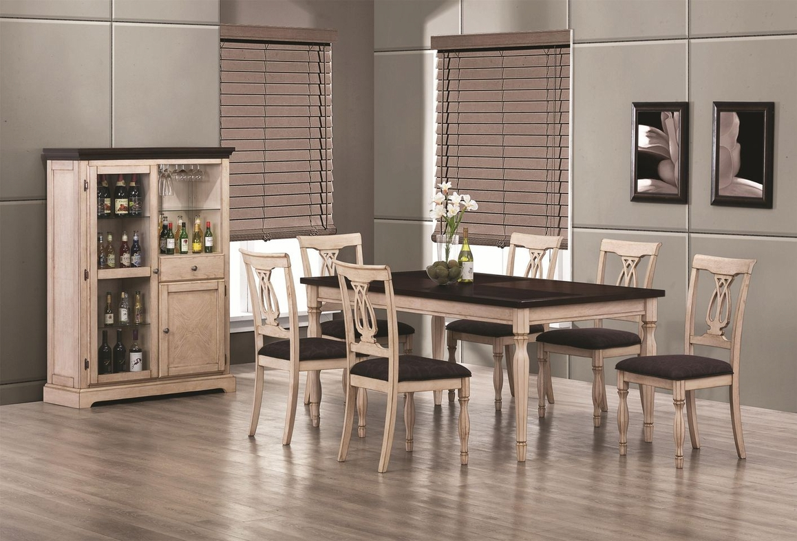 coaster camille wood kitchen table sets Camille Antique White Wood Dining Table Set