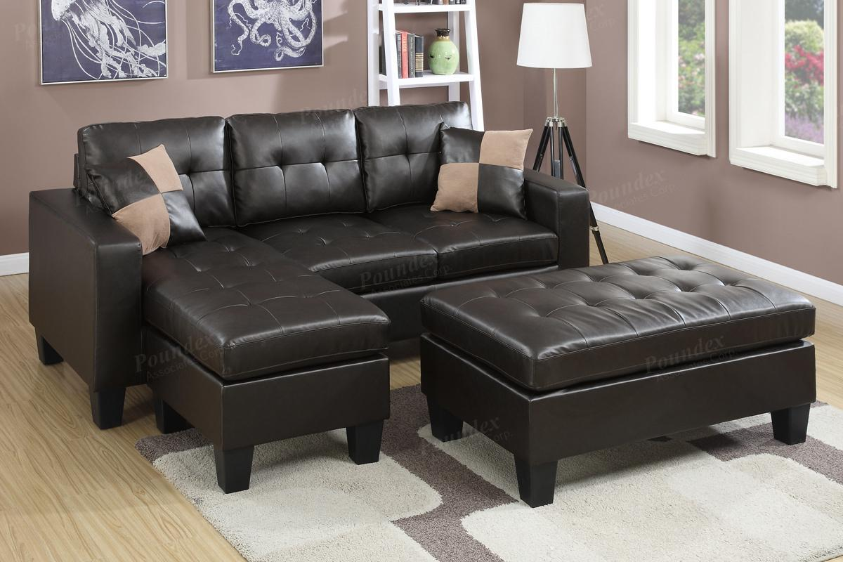 Los Sofas Cantor Brown Leather Sectional Sofa And Ottoman