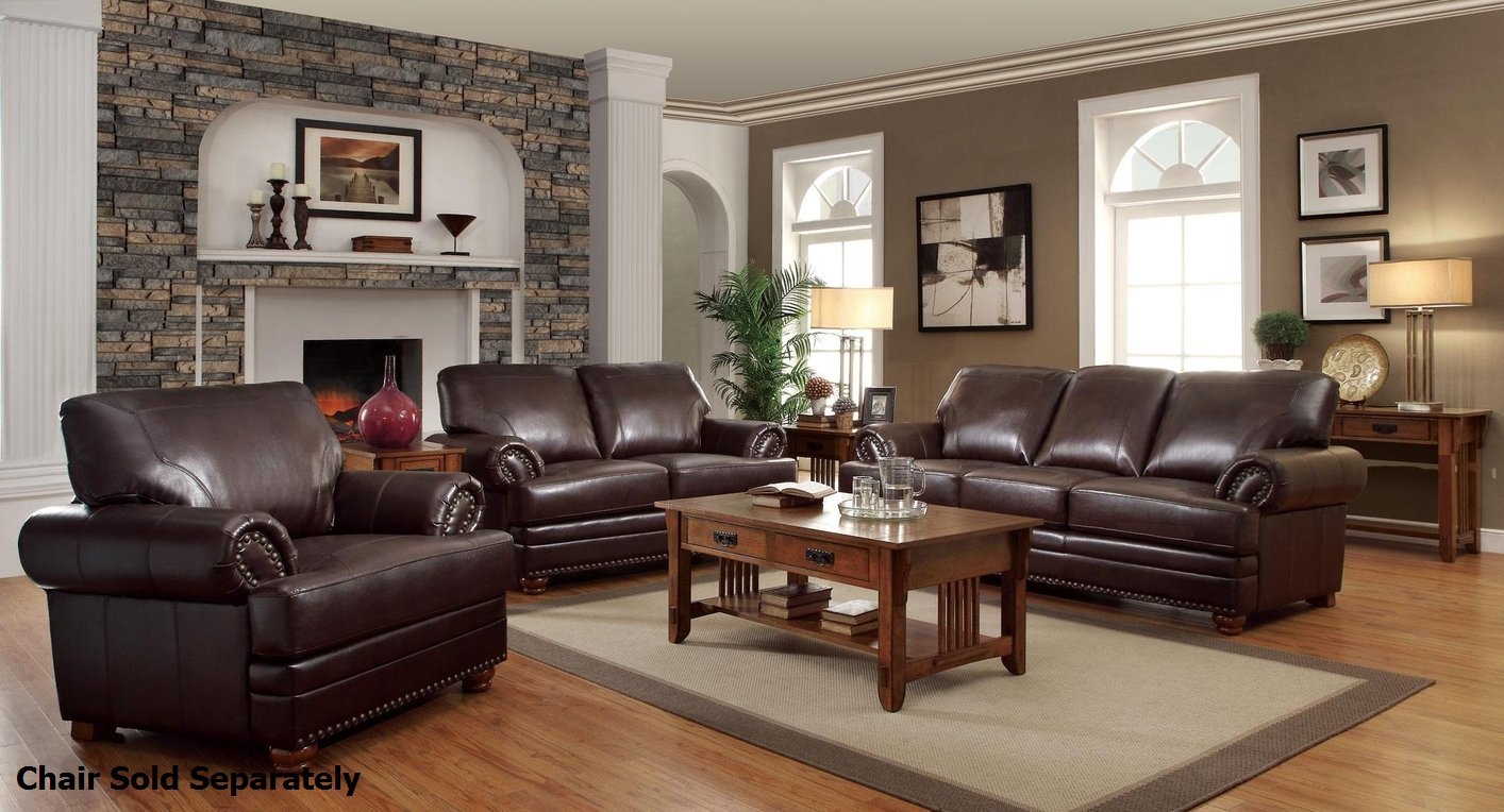 Leather Living Room Furnitures Colton Brown Leather Sofa And Loveseat Set
