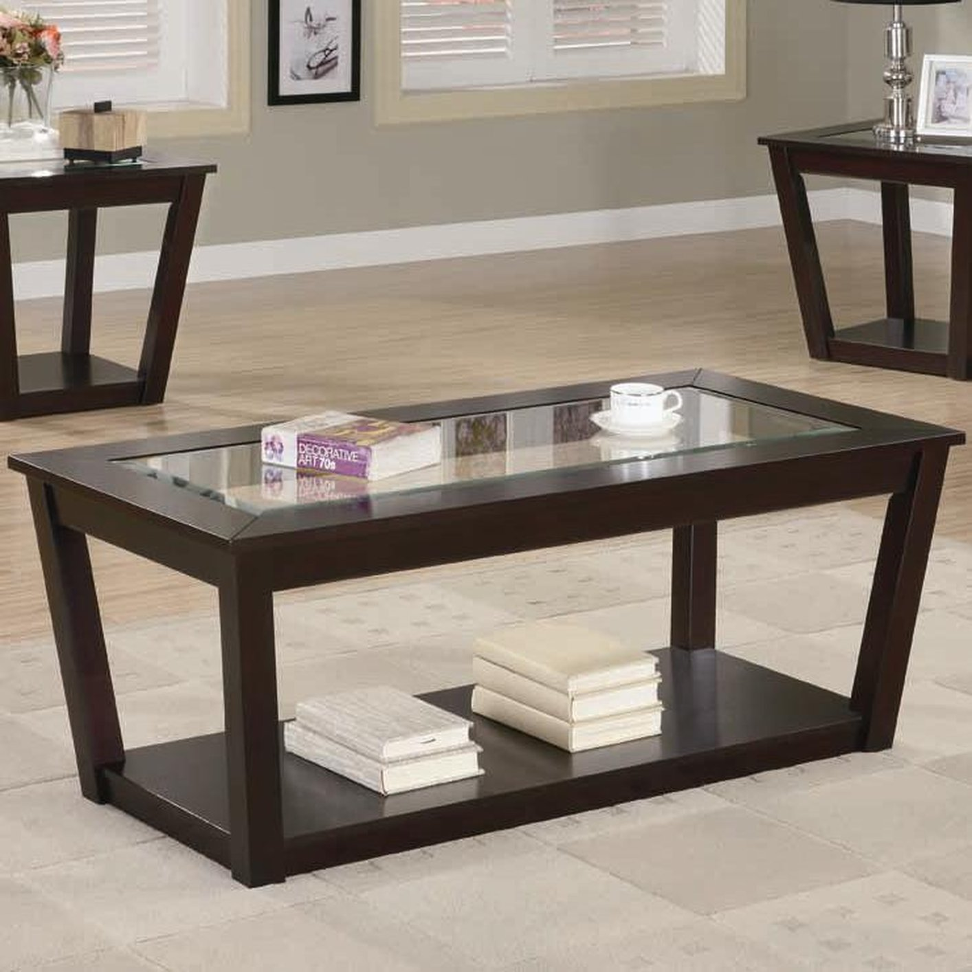 Table Glasses Fenmore Brown Glass Coffee Table Set Steal A Sofa
