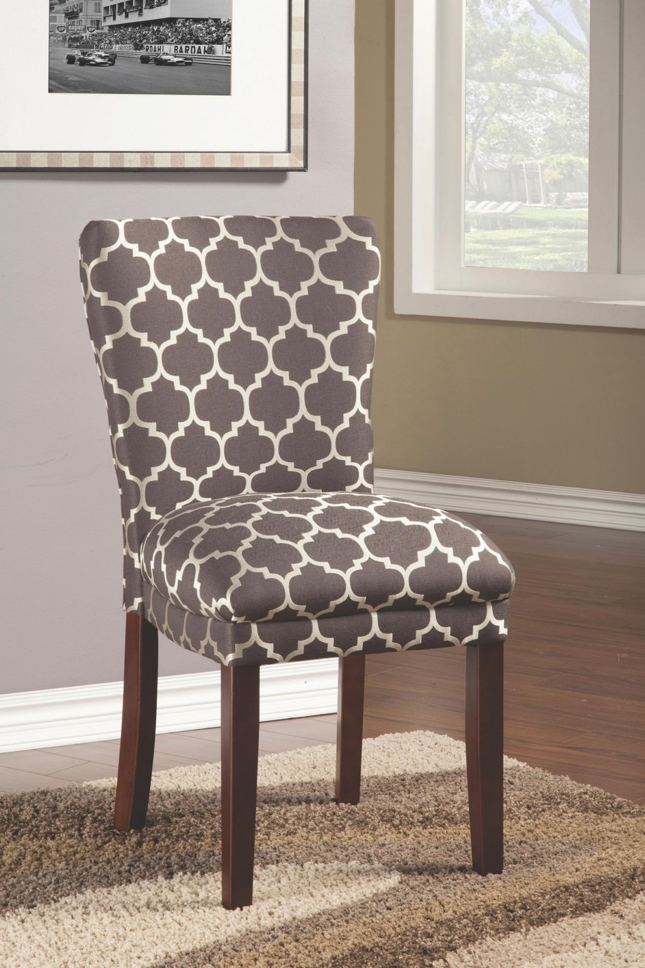 Patterned Dining Room Chairs Beige Fabric Dining Chair
