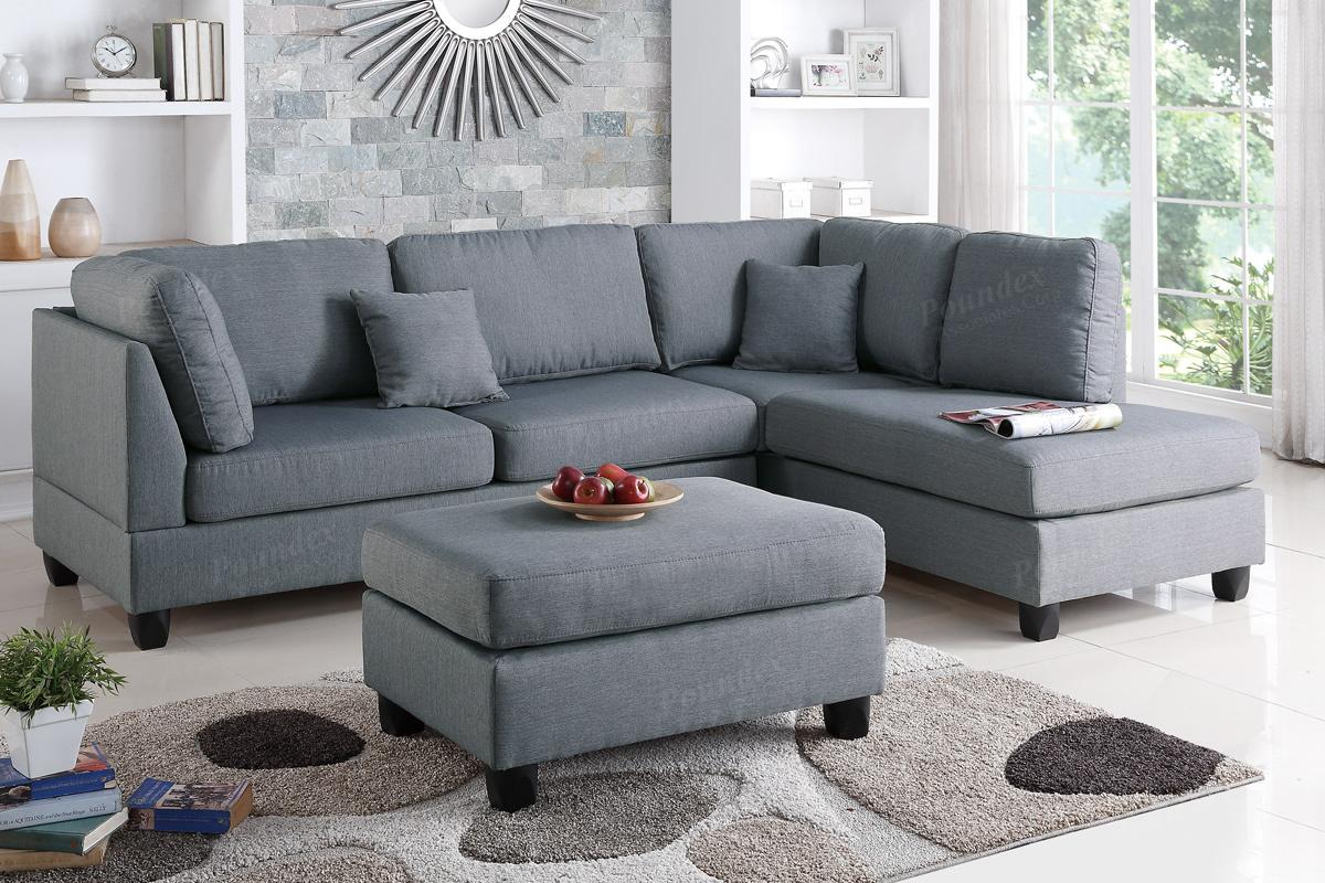 Sofa Fabric Courtney Grey Fabric Sectional Sofa And Ottoman