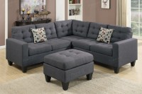 Grey Fabric Sectional Sofa and Ottoman - Steal-A-Sofa ...