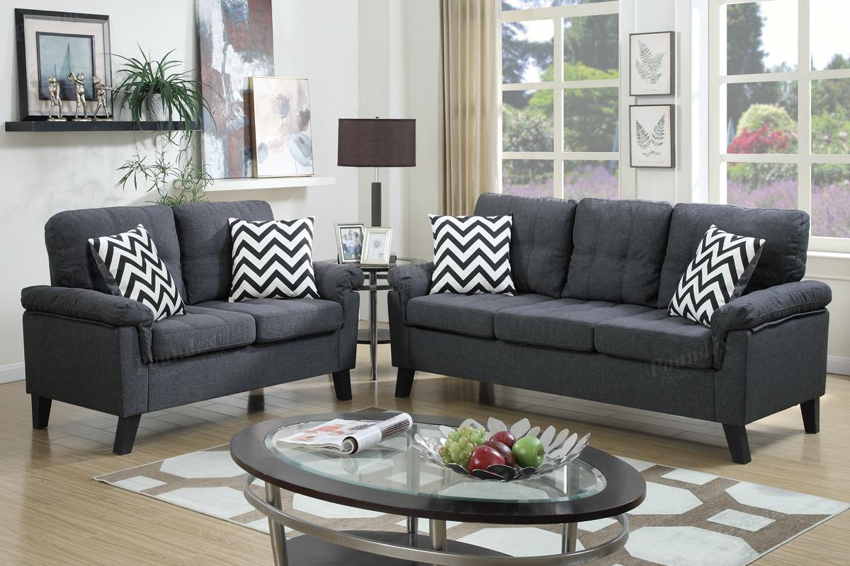 Sofa Sets In Living Room Aron Grey Fabric Sofa And Loveseat Set