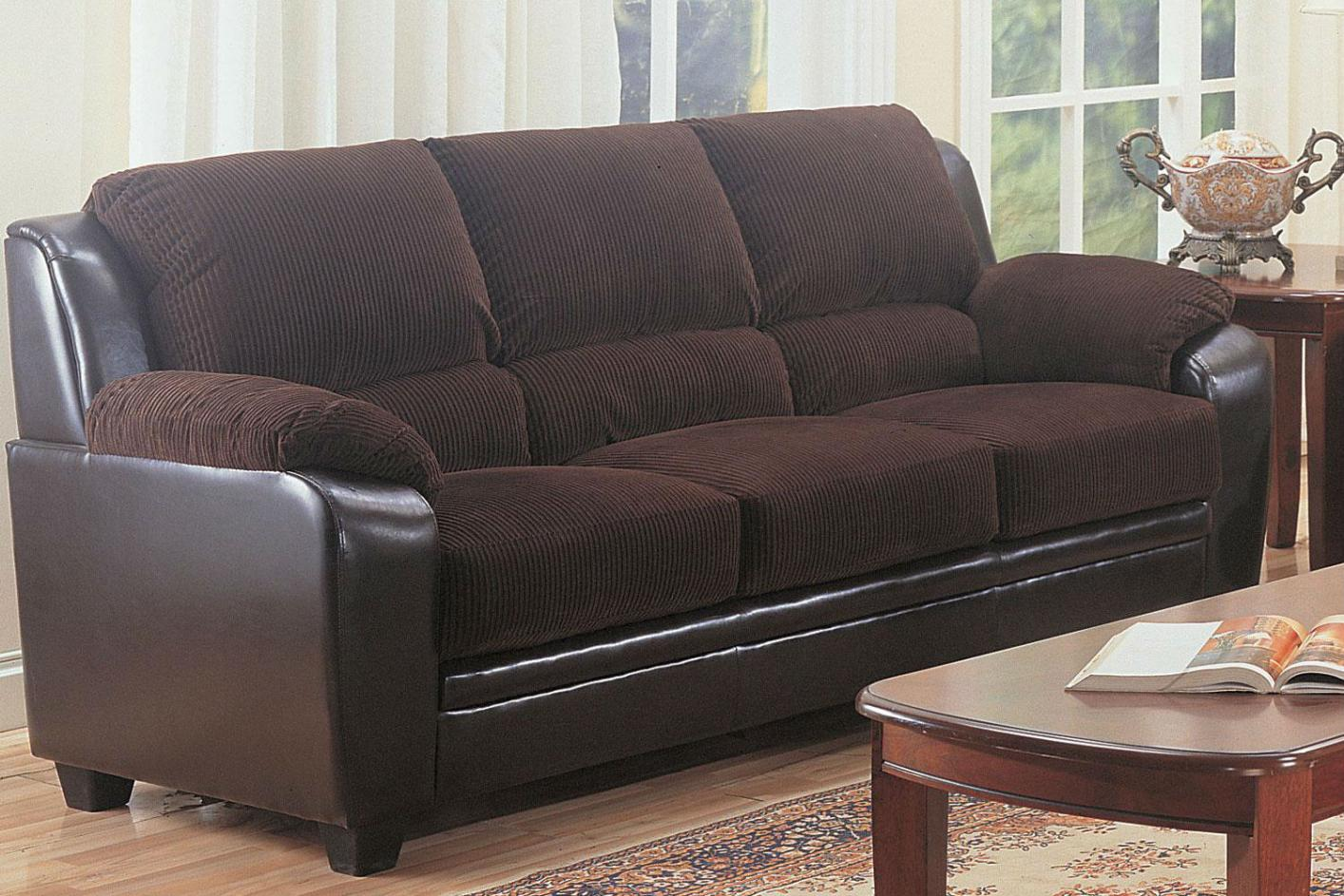 Chocolate Corduroy Sofa Monika Brown Leather Sofa