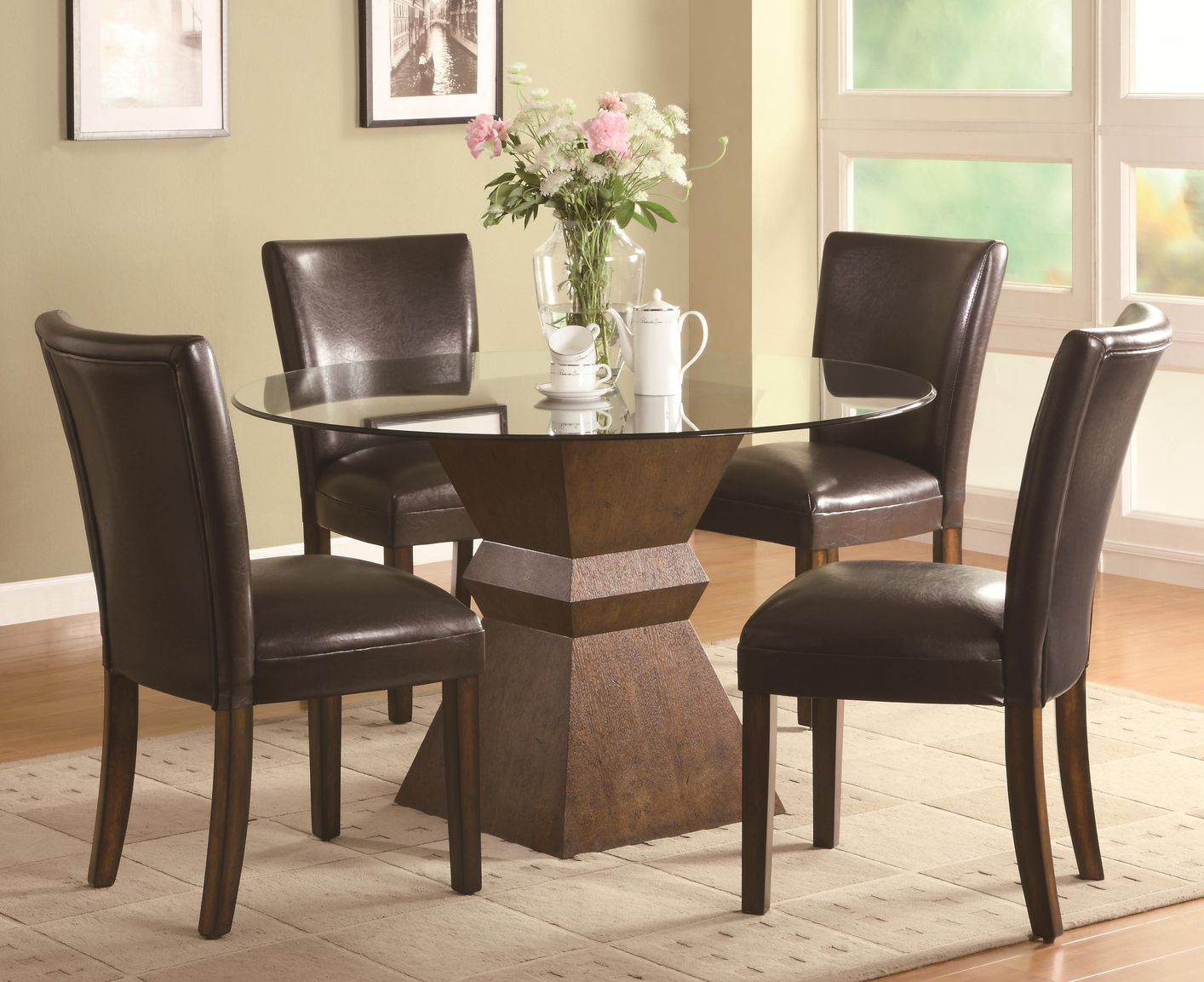 coaster nessa glass kitchen table Nessa Deep Brown Wood And Glass Dining Table Set