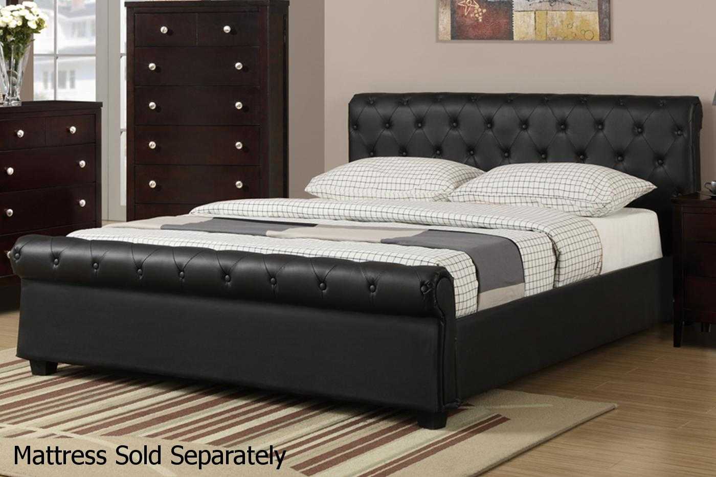Size Of Queen Bed Black Leather Bed