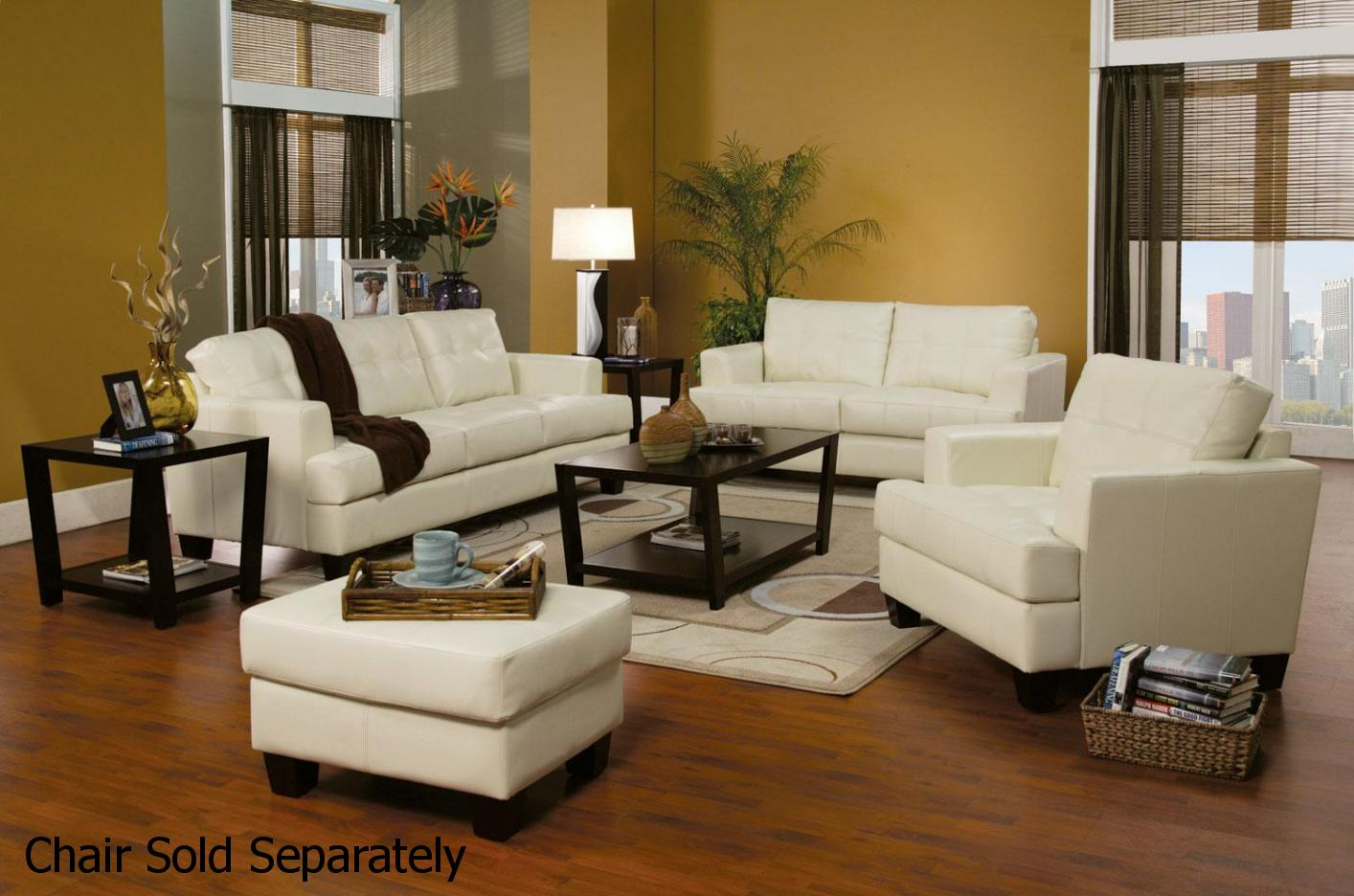 Leather Living Room Furnitures Samuel White Leather Sofa And Loveseat Set