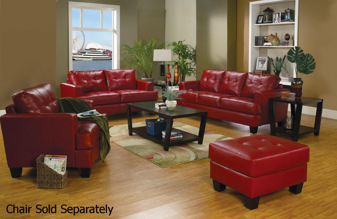 Leather Living Room Furnitures Samuel Red Leather Sofa And Loveseat Set