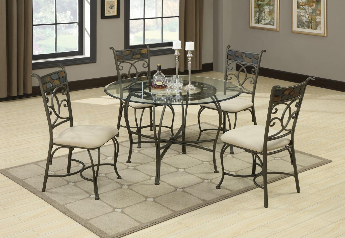 Glass Dining Table And Chairs Sheridan Grey Metal And Glass Dining Table