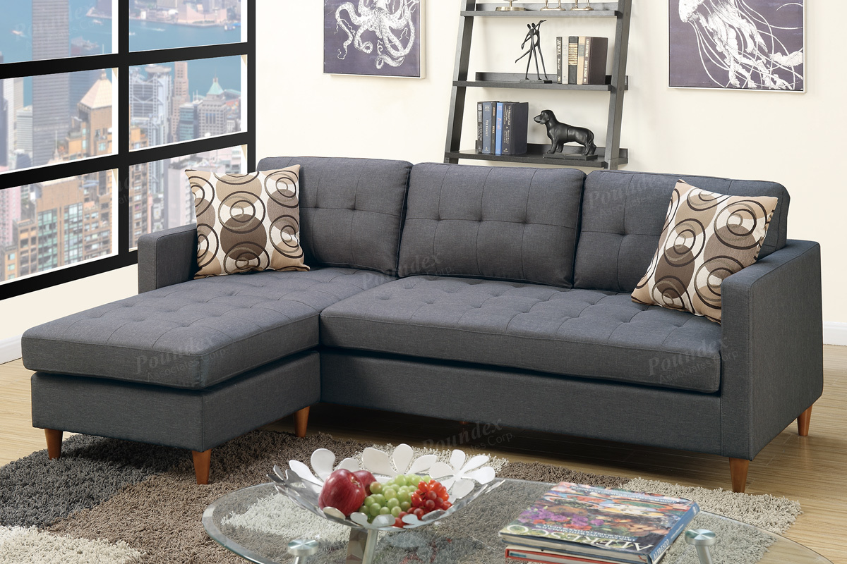 Rundecke Sofa Toiba Grey Fabric Sectional Sofa