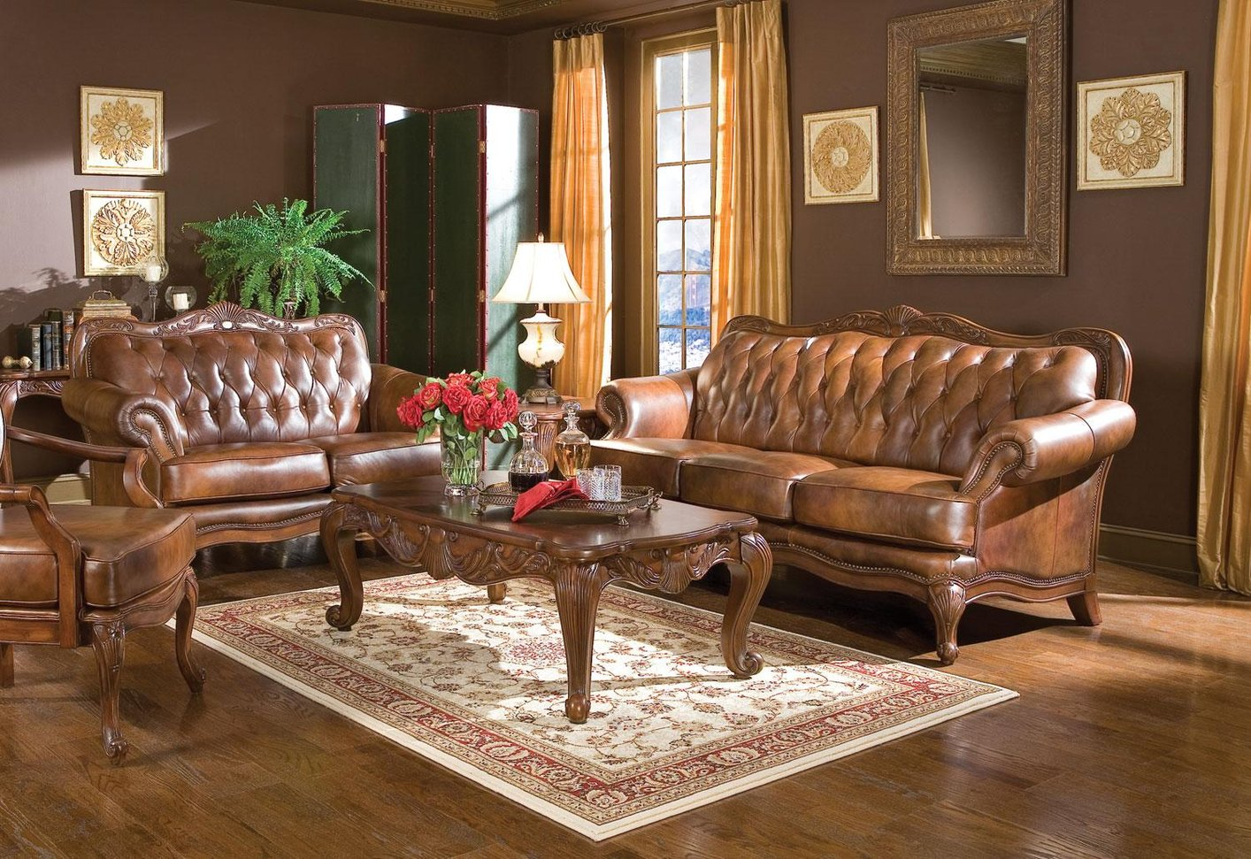 Brown Sofa And Loveseat Sets Victoria Brown Leather Sofa And Loveseat Set