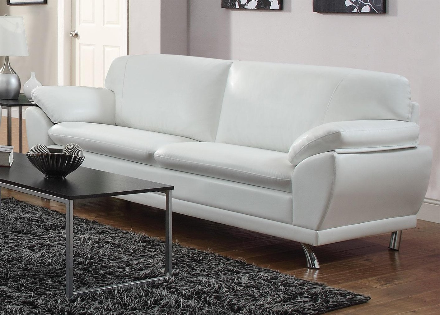 White Leather Couch Robyn White Leather Sofa
