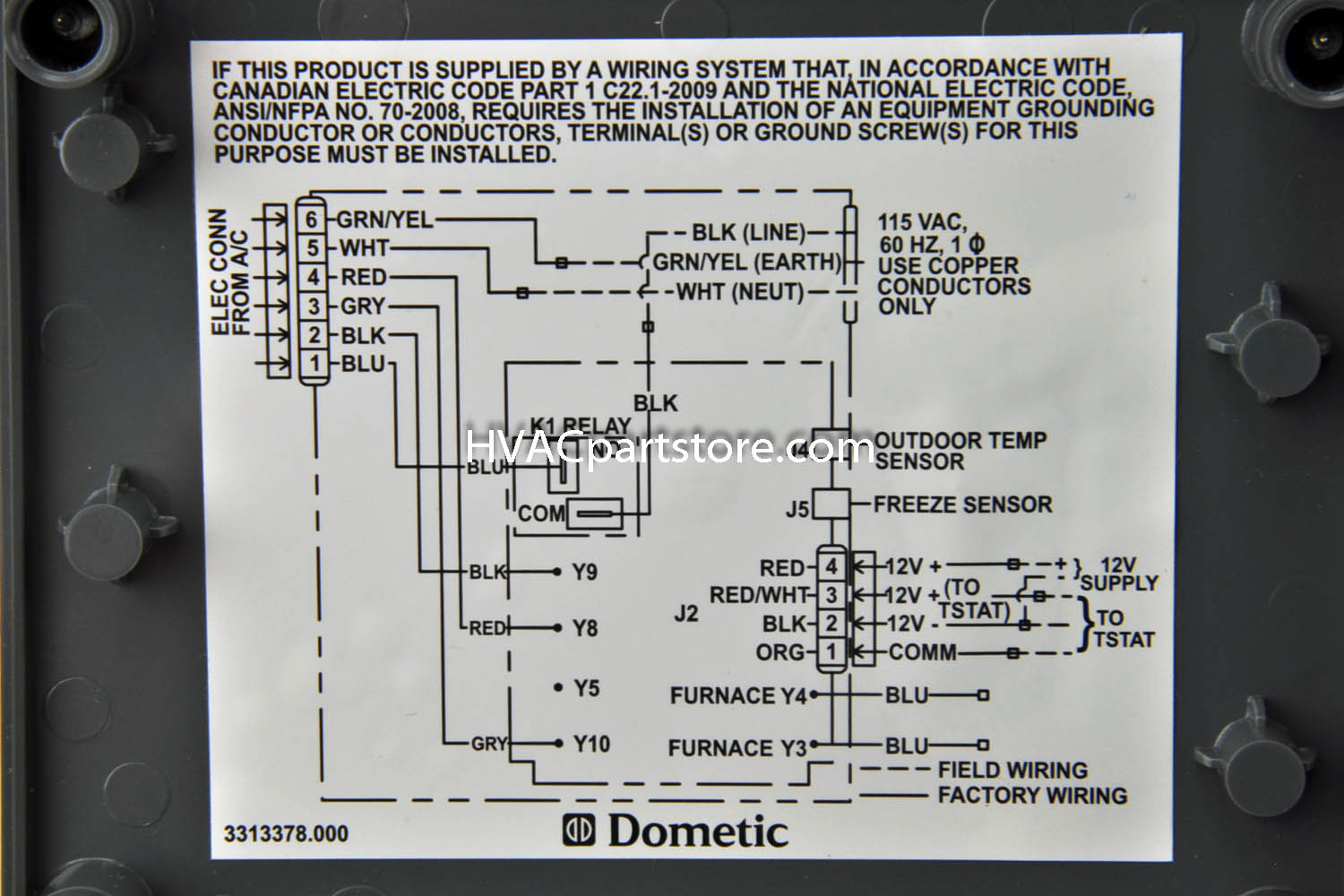 dometic furnace wiring
