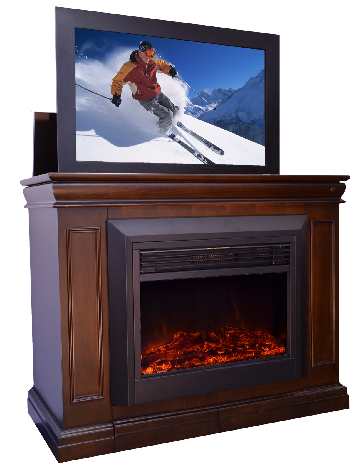 Tv Lift Cabinet Australia The Conestoga Tv Lift Cabinet With Electric Fireplace For