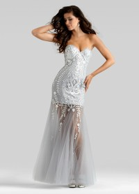Clarisse Couture 2014 Powder Silver Strapless Beaded Sheer ...