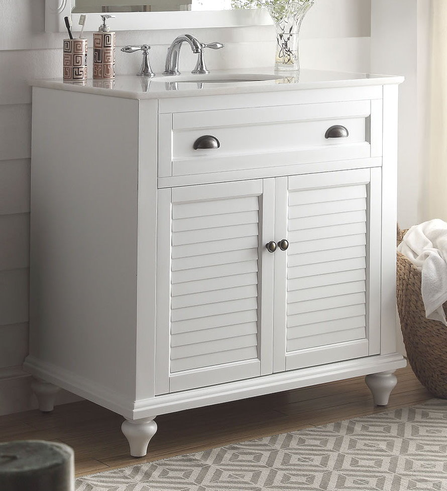Beach Style Bathroom Vanity 34 Inch Bathroom Vanity Cottage Beach Style White Color