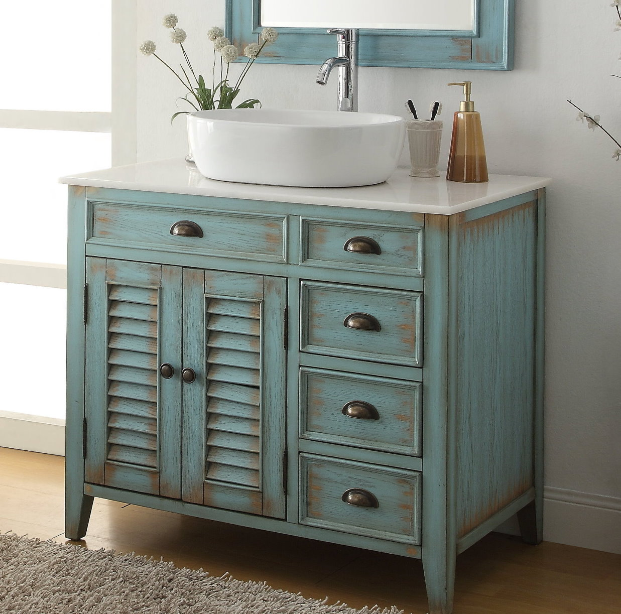 "Beach Style Bathroom Vanity 36"" Inch Bathroom Vanity Coastal Beach Style White Vessel"