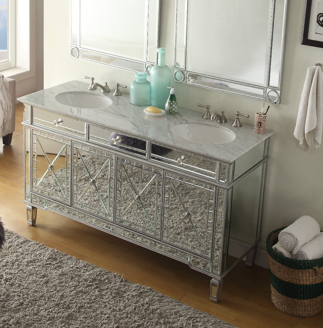 Mirrored Bathroom Vanity With Sink 60 Inch Double Sink Bathroom Vanity Art Deco Mirrored