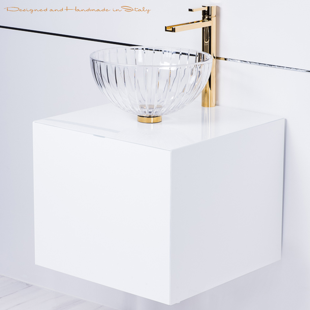 Italian 20 Inch White Lacquer Bathroom Vanity With Crystal