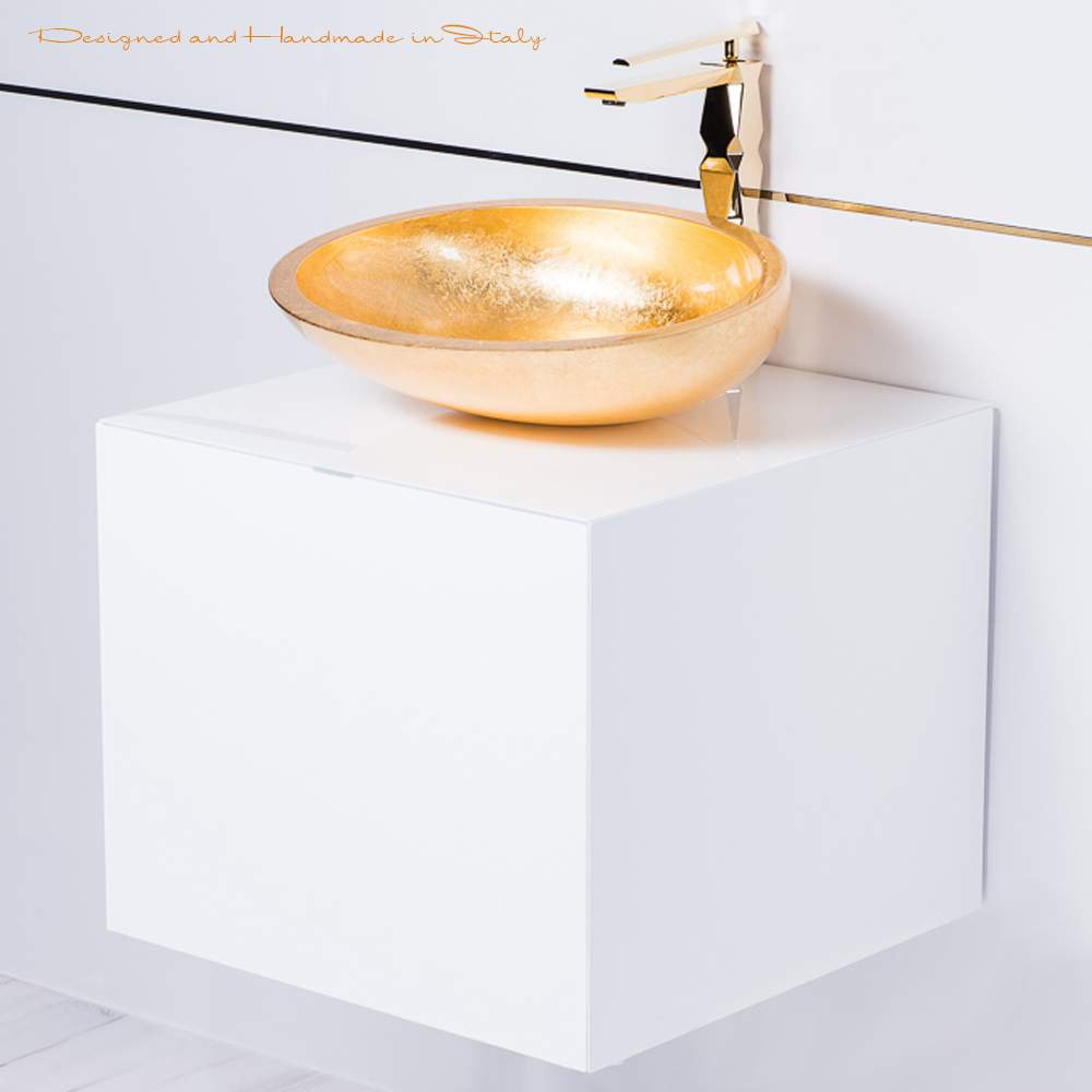 20 Inch White Lacquer Bathroom Vanity With Gold Vessel