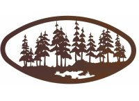 "22"" Oval Large Pine Forest Metal Wall Art - Nature Wall Decor"