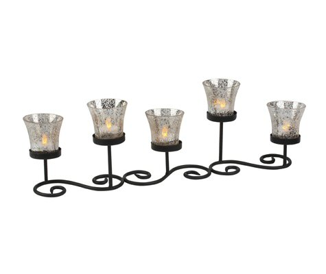 Metal Scroll Five Votive Candle Holder With Glass Holders