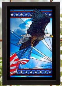 Our Glory Bald Eagle Bird Stained Glass Wall Art - Wall ...