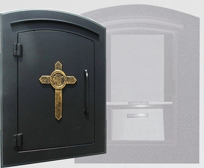 Qualarc Manchester Security Locking Column Mount Mailbox With Decorative  Cross Emblem In Black Column Mount Mailbox N71