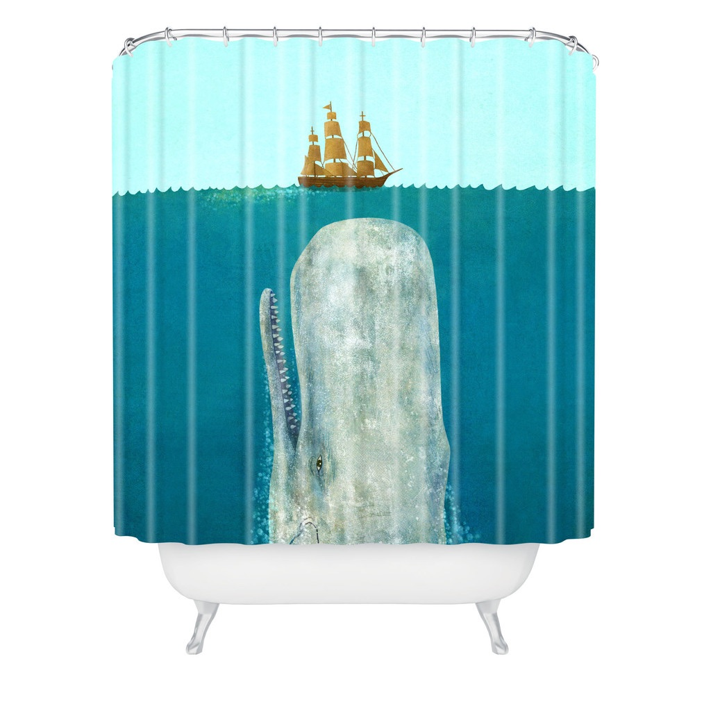 Nautical Fabric Shower Curtains Nautical Blue Whale Shower Curtain
