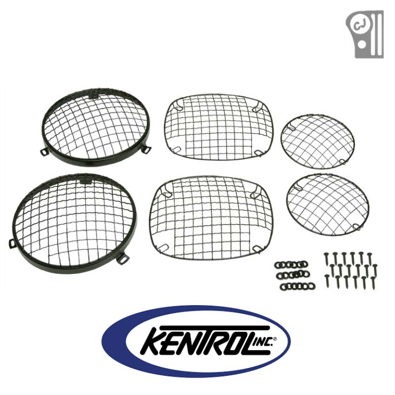 Kentrol 50465 Black Powder Coated Stainless Wire Mesh Guard Set, 6