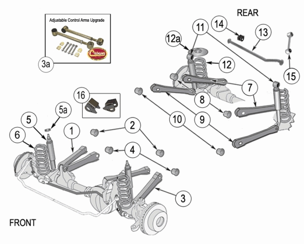 jeep wrangler front suspension parts diagram