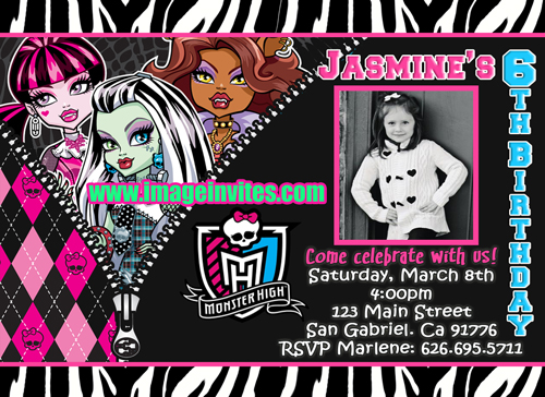 The Gallery For Gt Monster High Blank Invitations