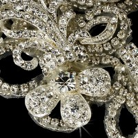 Gorgeous Silver Plated Rhinestone Ornament Bridal Brooch ...