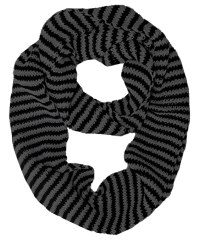 Knitted Chunky Warm Infinity Loop Scarf Scarves (White Black)