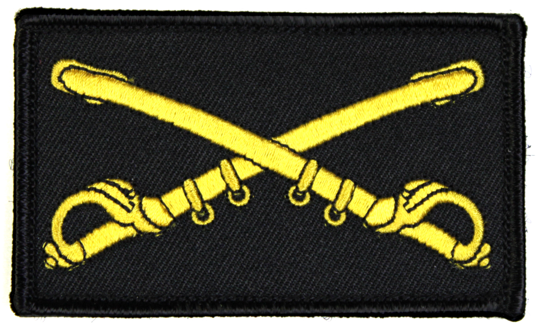 US Army Cavalry 2 x 3 Inch Black Hook and Loop Patch